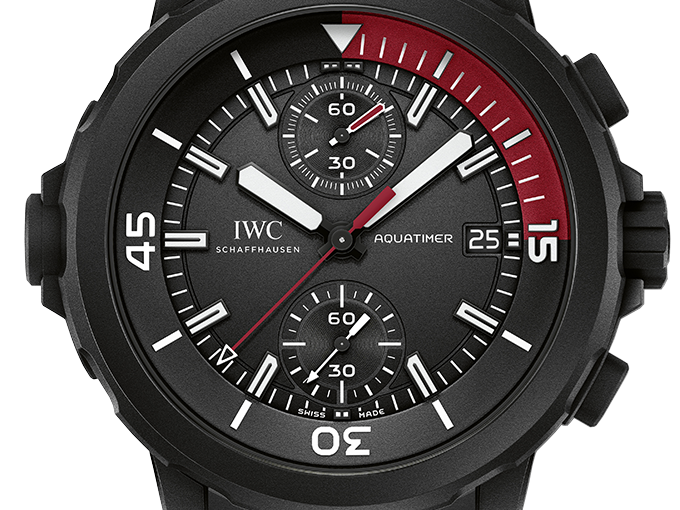 All Black IWC Aquatimer Replica Watches UK With Red And White Elements Of Good Quality