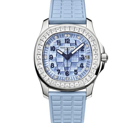 Blue Patek Philippe Aquanaut Copy Ladies' Watches UK With Diamond Bezels