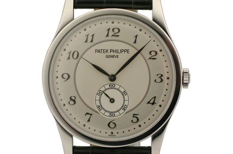 37MM Patek Philippe Calatrava Fake Watches UK With Black Leather Straps Of Top Quality