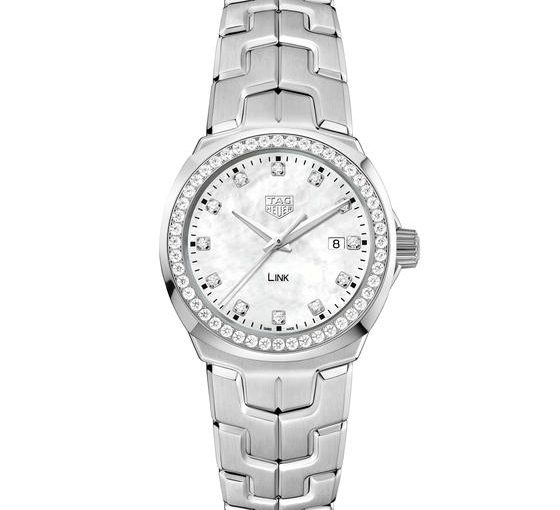 32MM TAG Heuer Link Fake Watches UK With White Mother-Of-Pearl Dials For Elegant Ladies