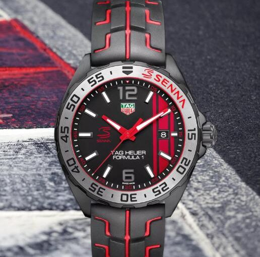 Senna Edition New TAG Heuer Formula One Replica Watches UK With Black And Red Rubber Straps