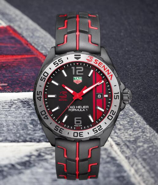 There are showy red elements applied to the whole black timepieces.