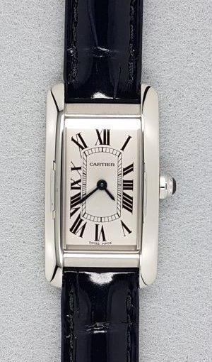 Small-Sized UK Cartier Tank Knockoff Watches With Military Blue Leather Straps Of Top Quality