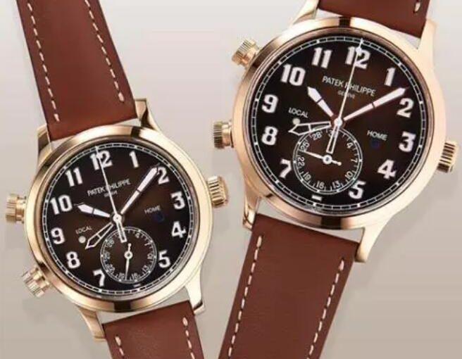 Complex Patek Philippe Calatrava Pilot Travel Time UK Replica Watches With Brown Sunburst Dials