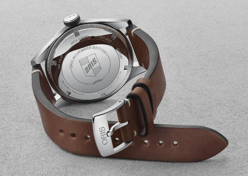 """The """"Oris Movember Edition"""" has been engraved on the caseback to present the relationship between the activity and the brand."""