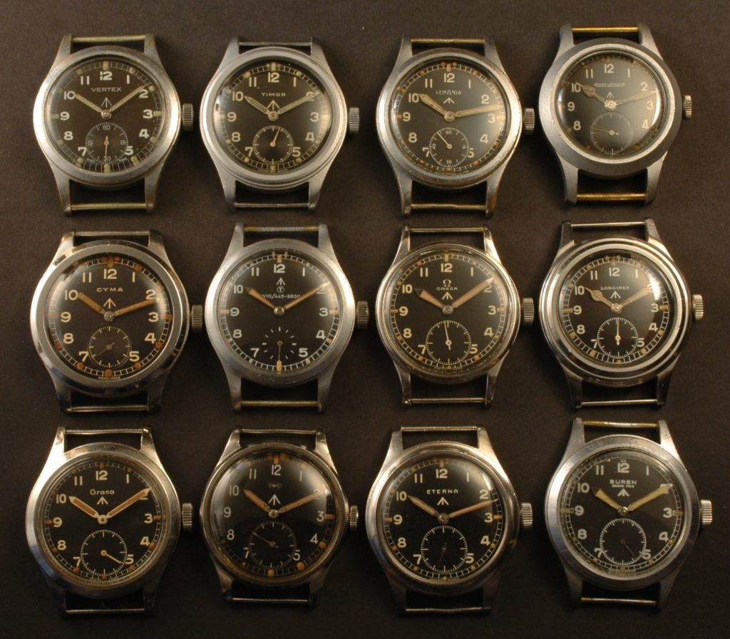 These antique military watches have been manufactured from 12 watch brands.