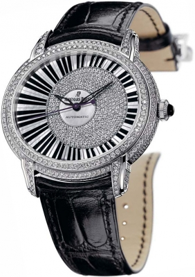 The black straps fake watches are decorated with diamonds.