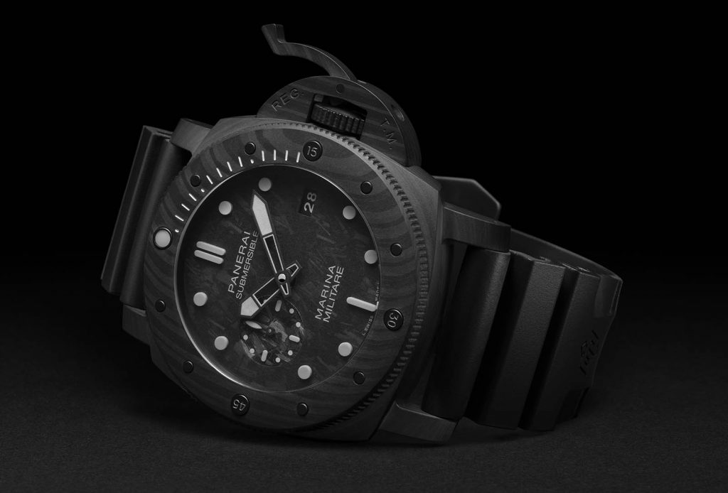 The 47 mm fake watches have black straps.
