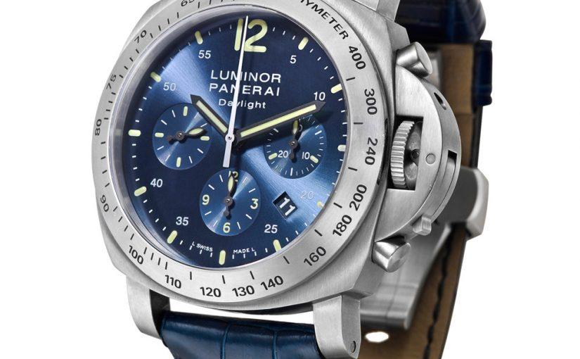 The titanium case fake watch is designed for men.